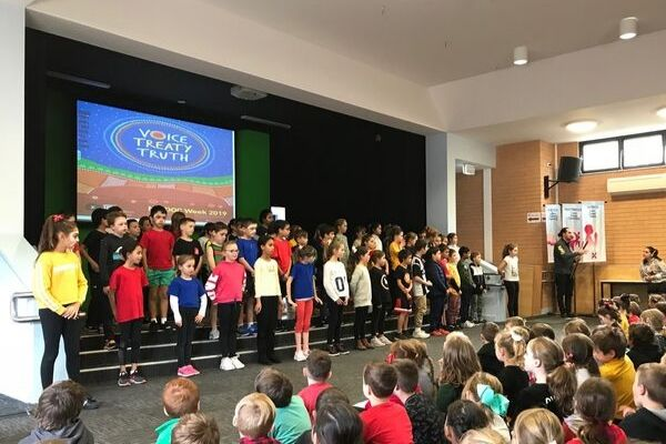 St Andrews Catholic Primary School Malabar - students faces painted for NAIDOC